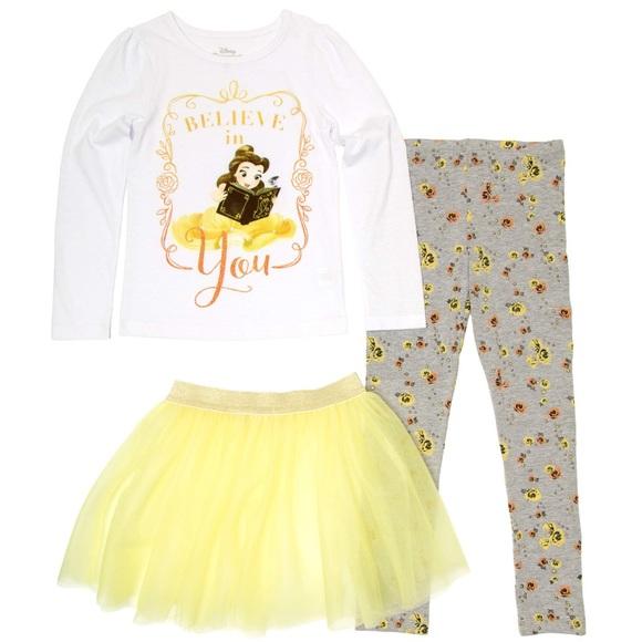 ff42152849fb1 Disney Matching Sets | 3 Piece Princess Belle Tutu Leggings Outfit ...